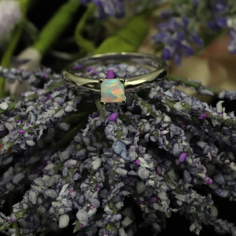 Square Cut Pearl White Opal Ring - 925 Sterling Silver Statement Ring