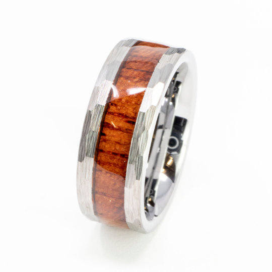 Faceted/Hammered Tungsten Koa Wood Ring
