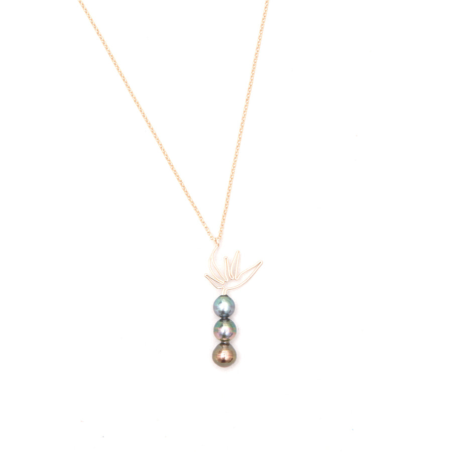Bijou Treasure by Tevei Perle collier birds of paradise avec trois perles en goldfilled