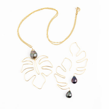 Bijou Treasure by Tevei Perle package collier boucles Ape collection Monstera Deliciosa