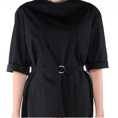 ethical black dress with long sleeves and belt