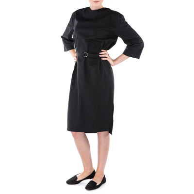 ethical black dress with long sleeves
