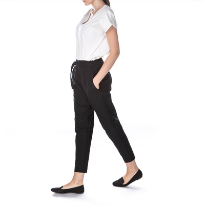 organic cotton black trousers women