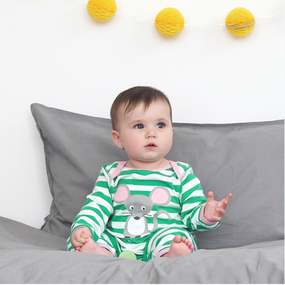 Mouse with Cheese Organic Cotton Sleepsuit