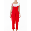 Luna Twill Cotton Dungarees - Strawberry Red