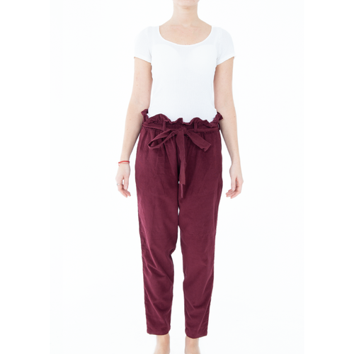 Eunoia High Waisted Corduroy Trousers - Maroon