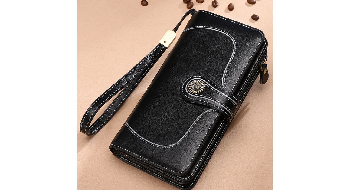 Retro Large Capacity Long Leather Wallet