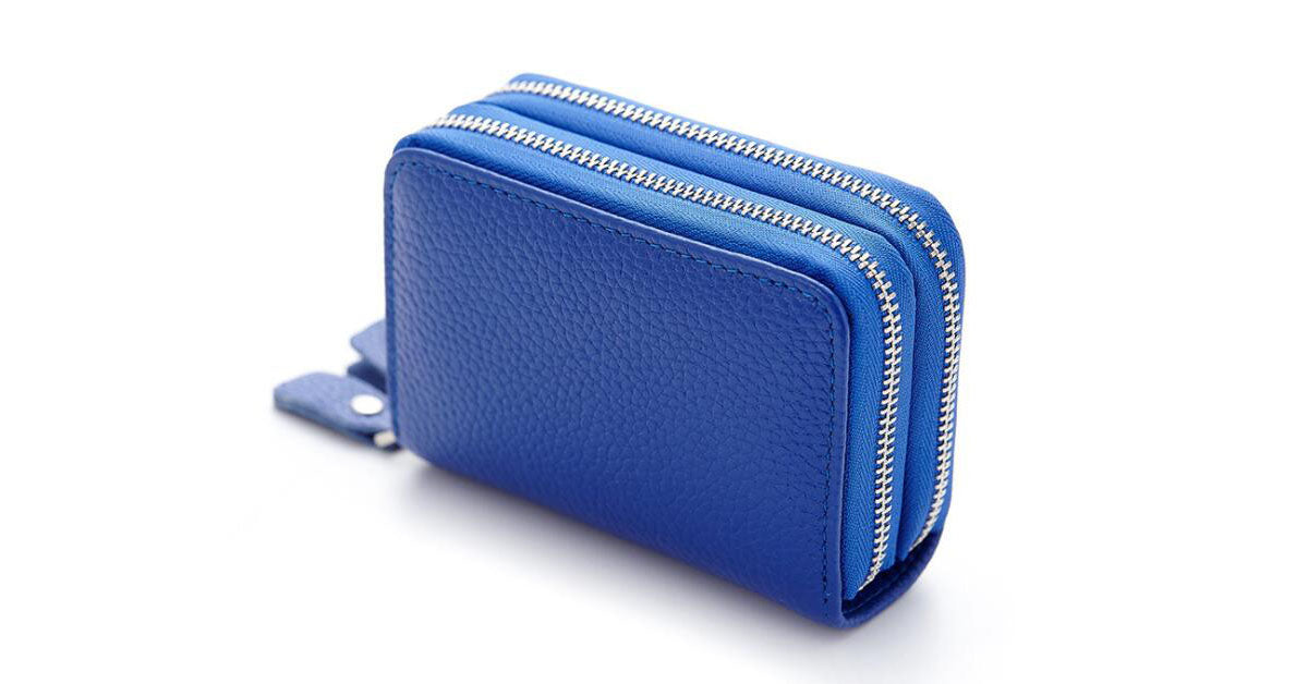 Double Zipper Multi Card Leather Wallet