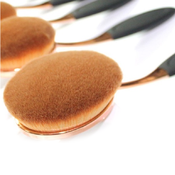 10 Piece Black and Gold Oval Brush Set - Best Seller - Black Friday Special - Deal Ends Soon