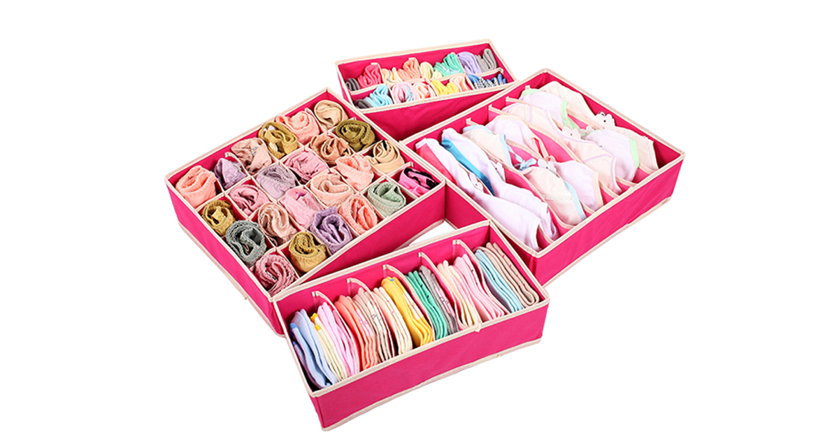 Foldable Non-Woven Storage Organizer Boxes 4 Pc Set