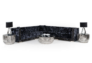 Divani Casa Fredrick Modern Black Crushed Velvet Sectional Sofa