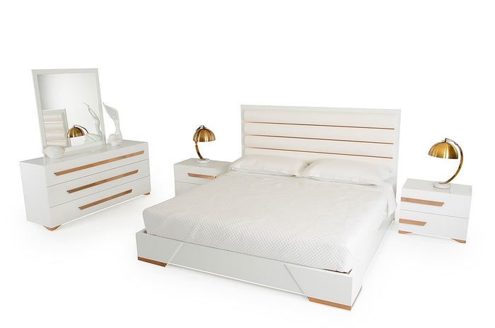 Nova Domus Juliet Italian White High Gloss Lacquer Bedroom Furniture Set