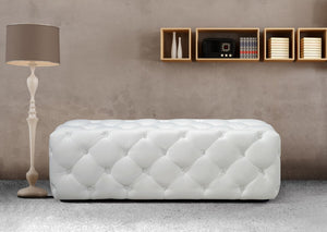 Modern White Leather Bench