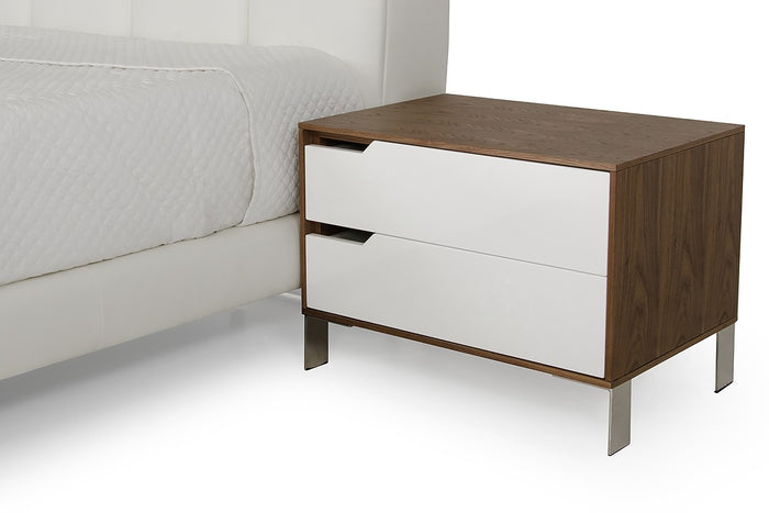 Modrest River Modern White & Walnut Nightstand