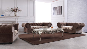 Divani Casa Metropolitan Transitional Brown Fabric Tufted Sofa Set