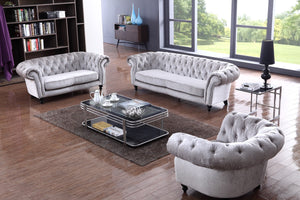 Divani Casa Alexandrina Grey Tufted Fabric Sofa Set