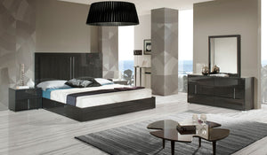 Modrest Ari Grey Lacquer Finish Italian Furniture Bedroom Set
