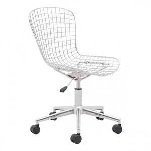 Zuo Wire Office Chair Chrome w/ White Cushion