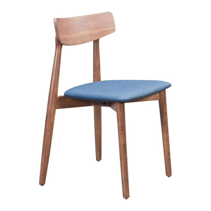 Zuo Newman Walnut & Ink Blue Dining Chair