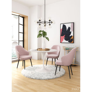 Zuo Savon Light Pink Velvet Dining Chair