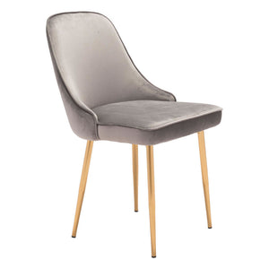 Zuo Merritt Gray Velvet Dining Chair