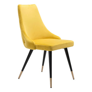 Zuo Piccolo Yellow Velvet Dining Chair