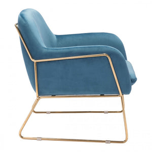 Zuo Nadir Arm Chair Blue Velvet