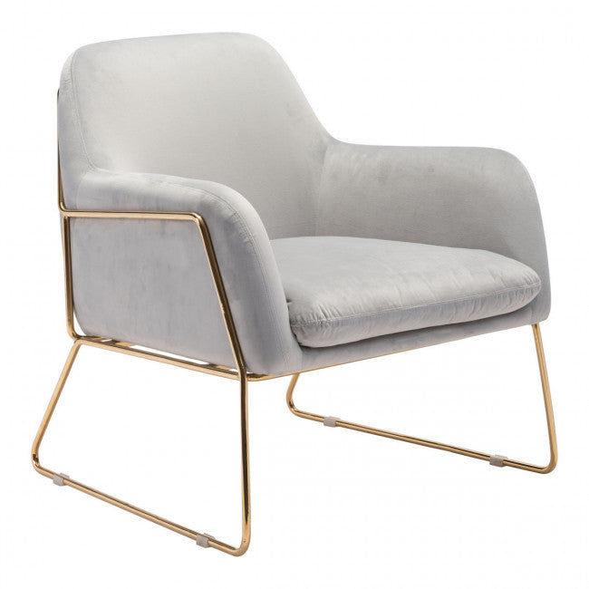 Zuo Nadir Arm Chair Gray Velvet
