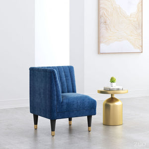 Zuo Raven Corner Chair Blue Velvet