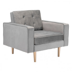 Zuo Puget Arm Chair Gray Velvelt