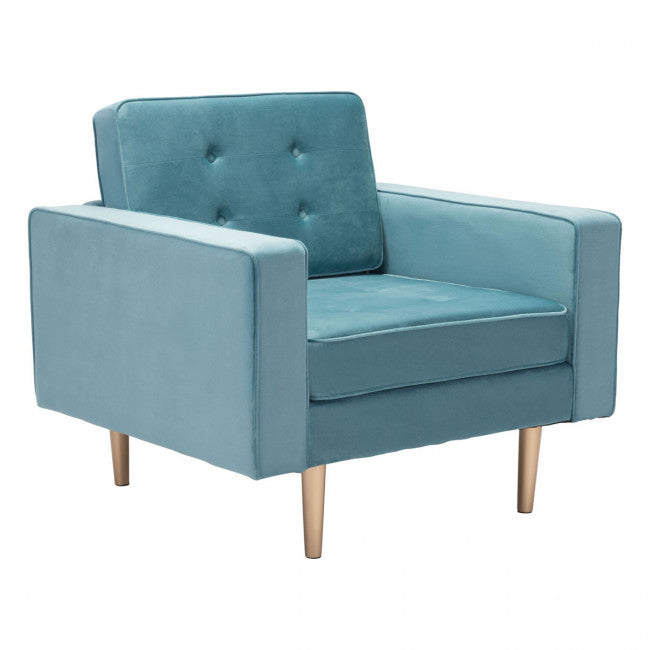 Zuo Puget Arm Chair Light Blue Velvet