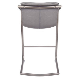 Indy PU Counter Stool Silver Frame, Antique Graphite Gray - Set of 2
