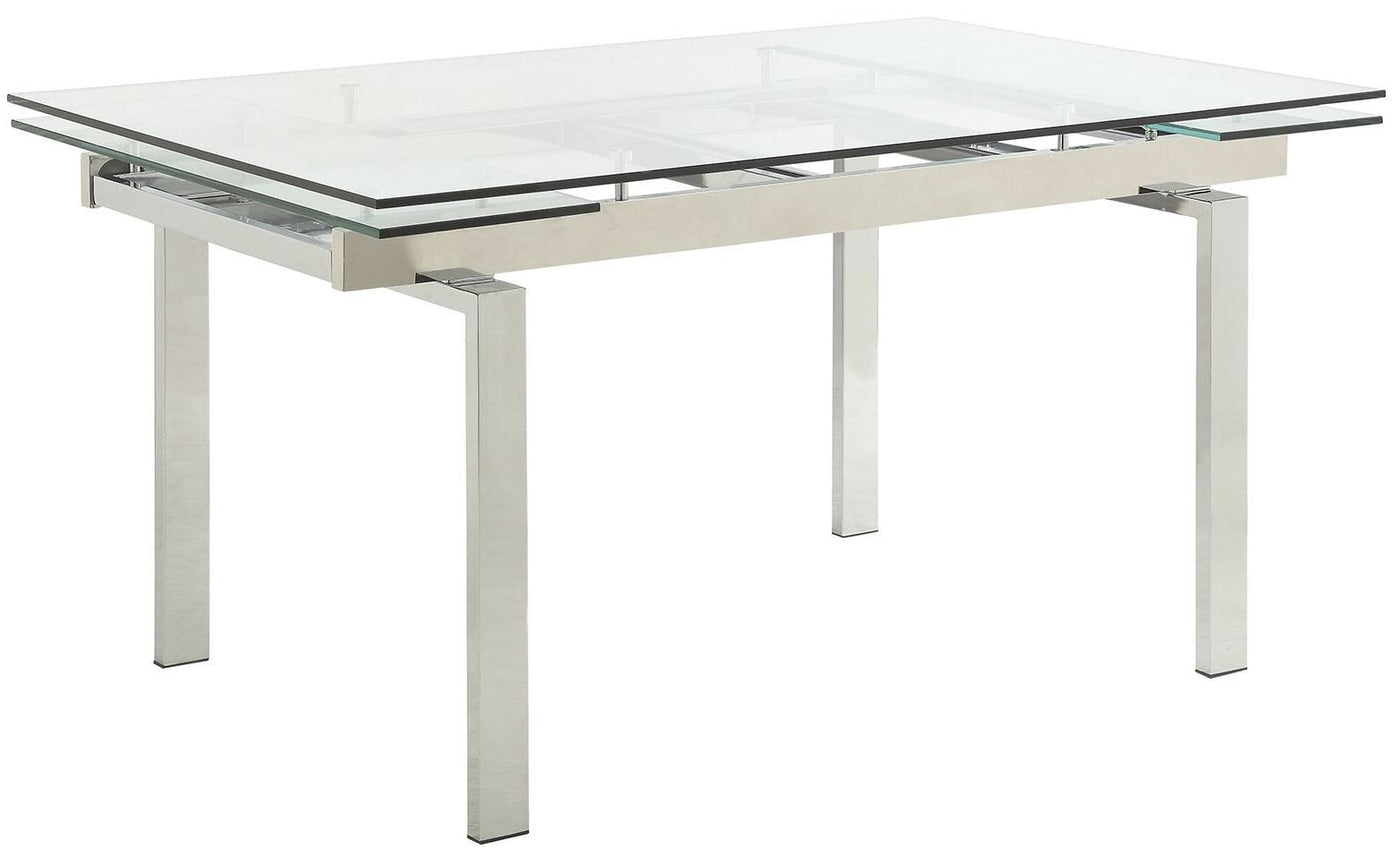 Picture of: Coaster Wexford Chrome Extendable Glass Dining Table 106281