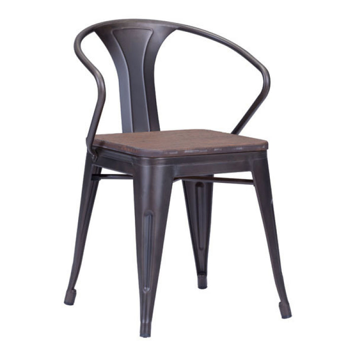 Zuo Helix Rusty+Elm Wood Top Dining Chair
