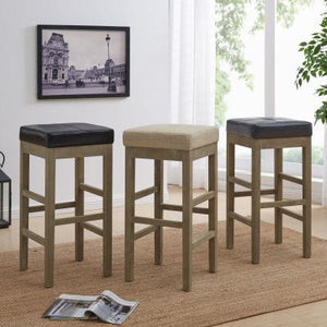 Valencia Bonded Leather Backless Bar Stool Mystique Gray Legs, Black