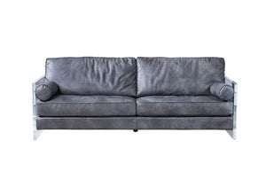 Divani Casa Lawton Modern Grey Leather & Acrylic Sofa