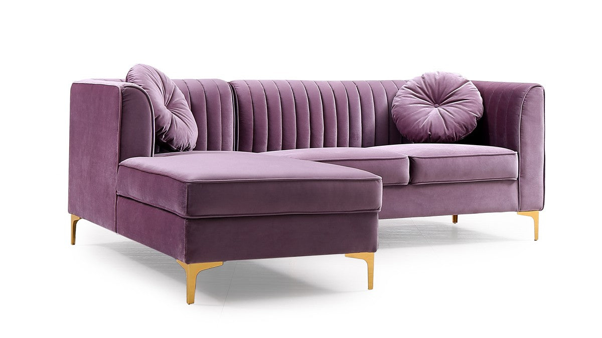 Picture of: Modrest Rachel Modern Purple Velvet Sectional Sofa