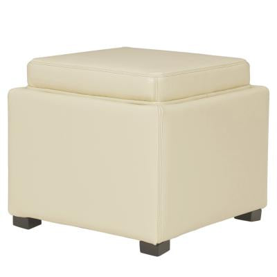 Fabulous Cameron Square Leather Storage Ottoman W Tray Beige Uwap Interior Chair Design Uwaporg
