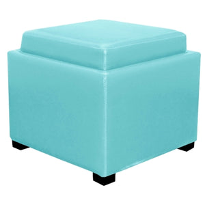 Cameron Square Leather Storage Ottoman w/ tray, Blue