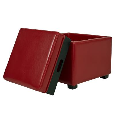 Awesome Cameron Square Leather Ottoman Storage W Tray Red Gmtry Best Dining Table And Chair Ideas Images Gmtryco