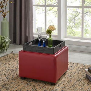 Cameron Square Leather Ottoman Storage w/ tray, Red