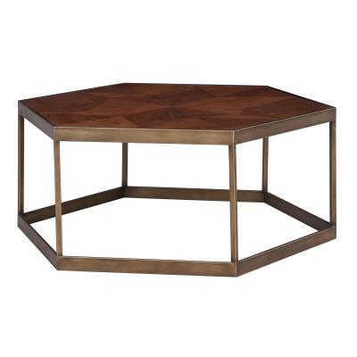 Dax Hexagon Coffee Table Rustic Gold Legs, Walnut
