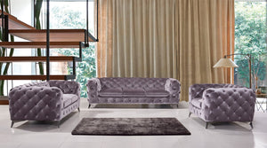 Divani Casa Delilah Grey Linen Tufted sofa Set