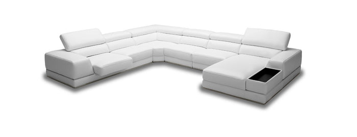 Divani Casa Chrysanthemum - Modern White Eco-Leather Sectional Sofa
