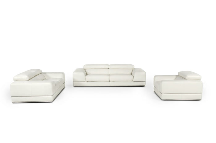 Divani Casa Chrysanthemum Modern White Leather Sofa Set