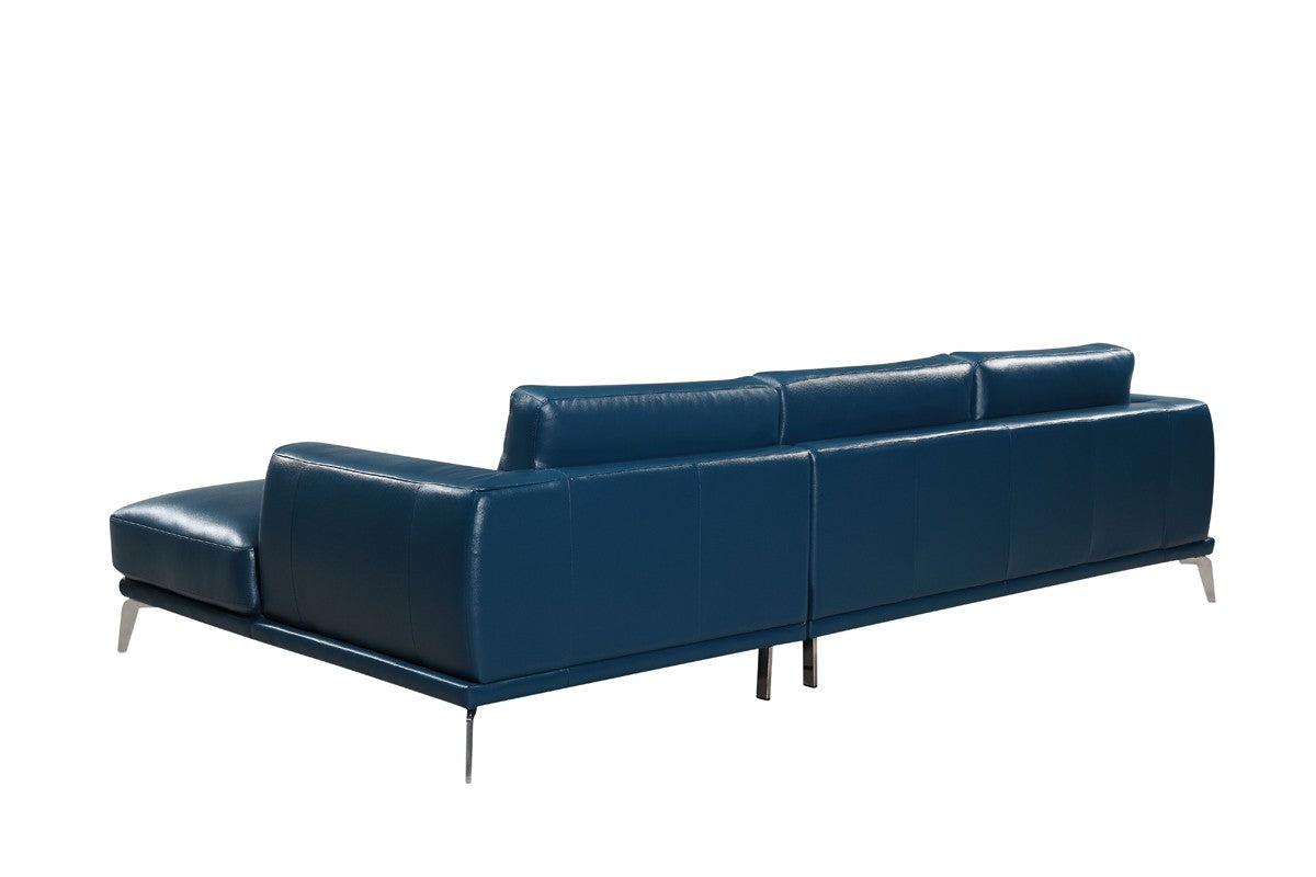 Divani Casa Drancy Modern Blue Bonded Leather Sectional Sofa With Chaise