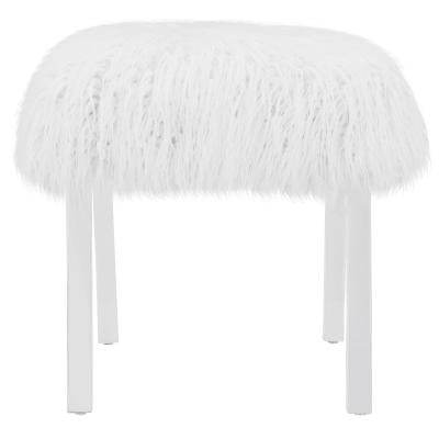 Peachy Scarlett Kd Faux Fur Bench Acrylic Base White Squirreltailoven Fun Painted Chair Ideas Images Squirreltailovenorg