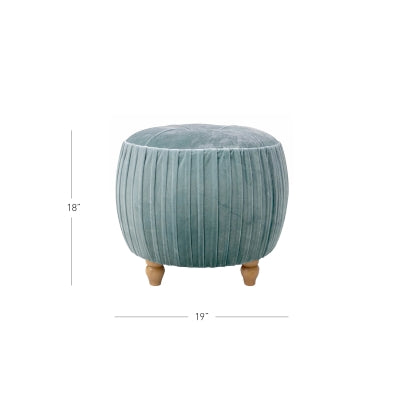 Miraculous Helena Kd Small Round Ottoman Natural Wood Legs Emerald Evergreenethics Interior Chair Design Evergreenethicsorg