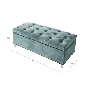 Pandora KD Fabric Storage Bench Acrylic Legs, Emerald