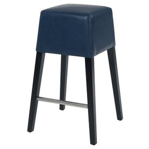 Aubin Bonded Leather Bar Stool Black Legs, Vintage Blue